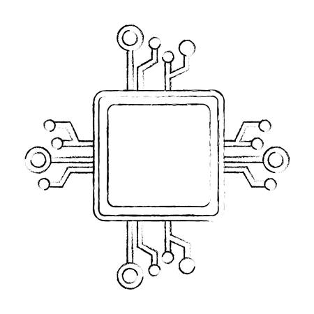 프로세서 회로 절연 아이콘 벡터 일러스트 디자인 일러스트