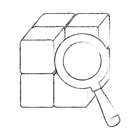 虫眼鏡ベクトルイラストデザインのブロック付きキューブ