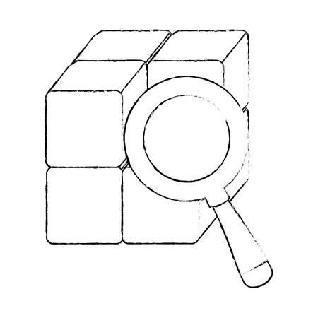 돋보기와 블록 큐브 벡터 일러스트 레이 션 디자인 일러스트