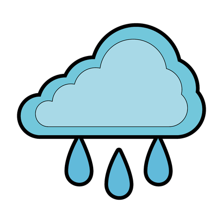 cloud silhouette with rain drops vector illustration design