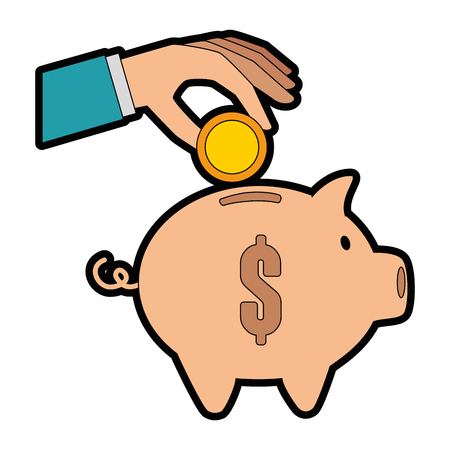 hand saver with piggy savings and coins vector illustration design Illustration