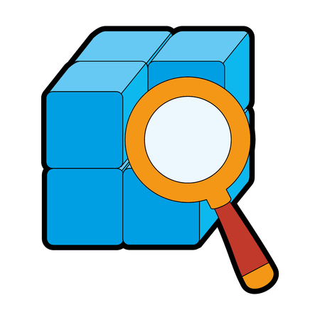 cube with blocks with magnifying glass vector illustration design Фото со стока - 90526057