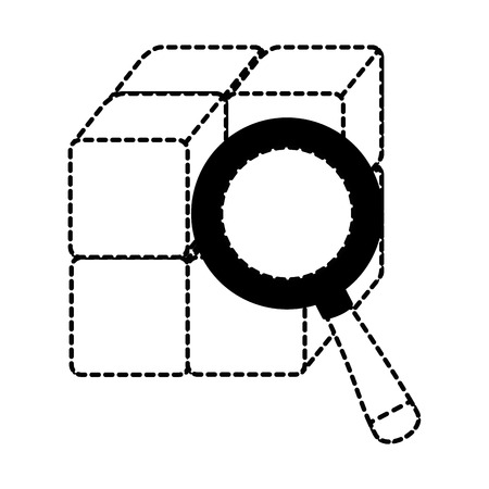 cube with blocks with magnifying glass vector illustration design Фото со стока - 90526634