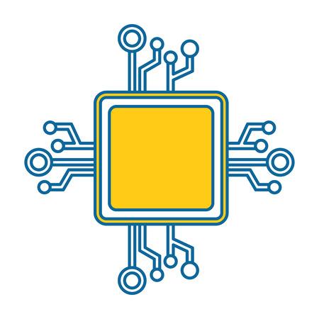 circuit processeur icône isolé illustration vectorielle conception