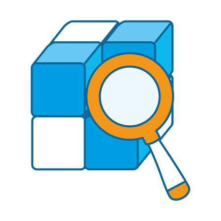 Cube avec des blocs avec loupe vector illustration design Banque d'images - 90526891