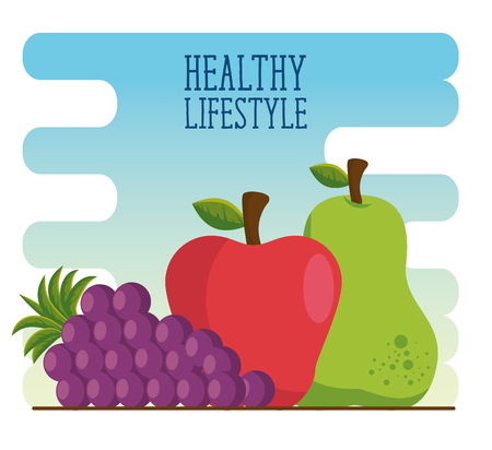 healthy lifestyle eat fruits vector illustration graphic design Illustration