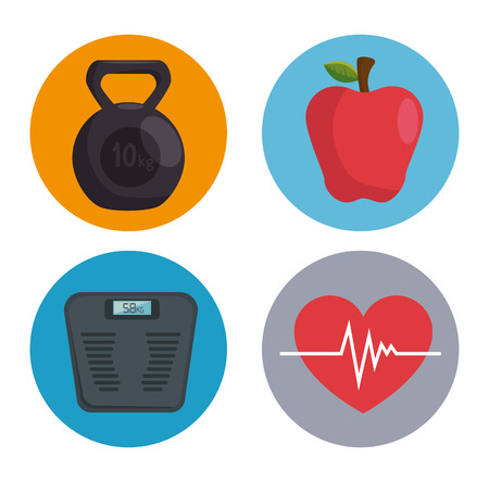 set of healthy lifestyle elements vector illustration graphic design