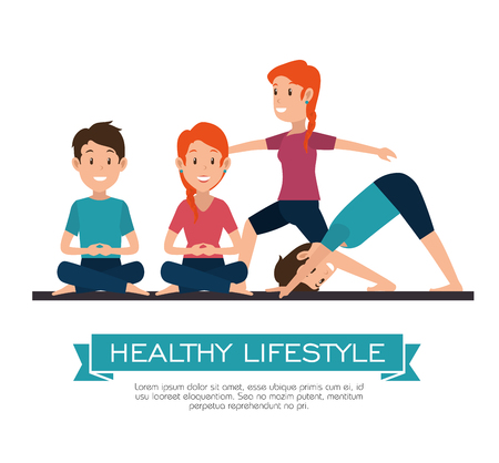 healthy lifestyle people doing yoga poses and exercises vector illustration graphic design Illustration