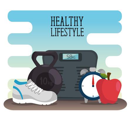 Concetto di stile di vita sano con disegno grafico illustrazione vettoriale di frutta e scala Archivio Fotografico - 90527113