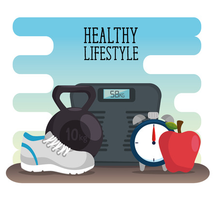 healthy lifestyle concept with scale and fruits vector illustration graphic design