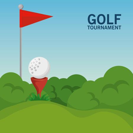 ゴルフコース風景ベクトルイラストグラフィックデザイン  イラスト・ベクター素材