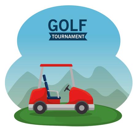 golf car on a golf course vector illustration graphic design