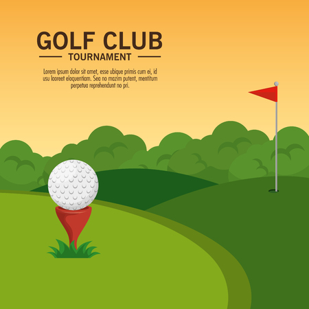 golf course landscape vector illustration graphic design Иллюстрация