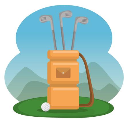 골프 가방 및 클럽 장비 벡터 일러스트 그래픽 디자인