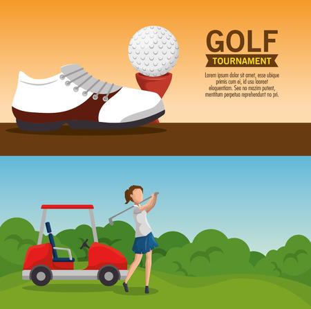 Progettazione grafica dell'illustrazione di vettore del modello del manifesto del torneo di golf Archivio Fotografico - 90527767