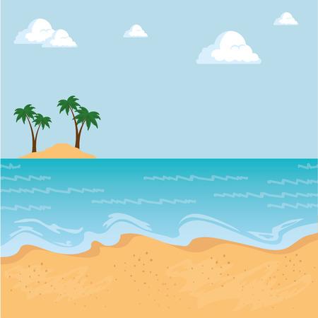 mooie landschaps de zomertijd op het strand met grafisch ontwerp van de palmen het vectorillustratie