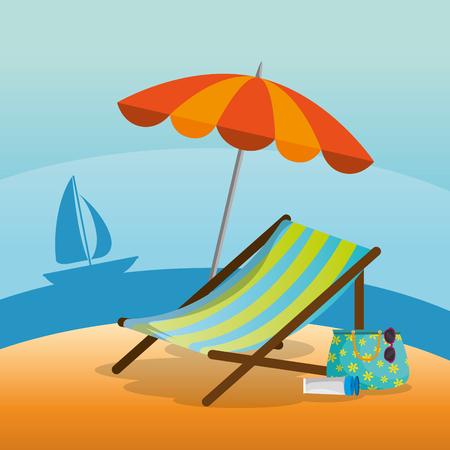 ビーチ風景の木製ビーチチェア 夏休み 休暇 ベクトル イラストグラフィックグラフィックデザイン  イラスト・ベクター素材
