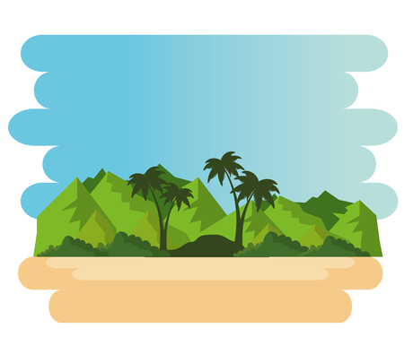 beautiful landscape summer time on the beach with palms vector illustration graphic design