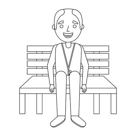 벤치에 앉아있는 할아버지 할아버지 기다리고 벡터 일러스트 레이션 일러스트