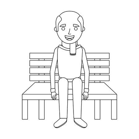 old man grandpa sitting in bench waiting vector illustration