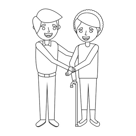 oudere vrouw oma met jonge man hand in hand vector illustratie Stock Illustratie
