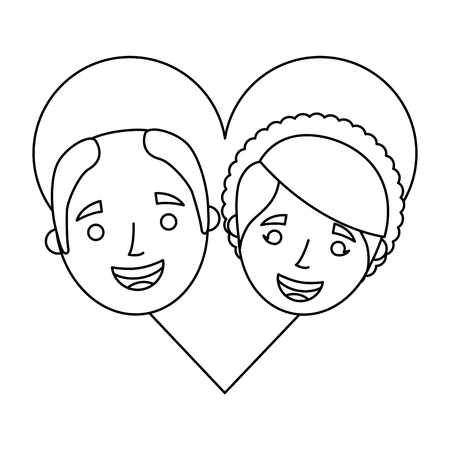 happy grandparents portrait old lovely couple in love characters vector ilustration