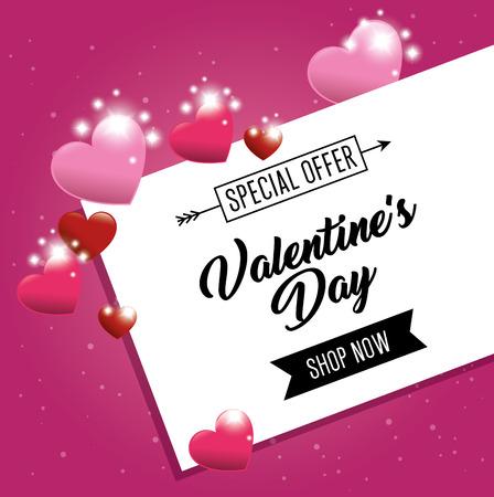 心と幸せのバレンタインの日カード ベクトル イラスト グラフィック デザイン