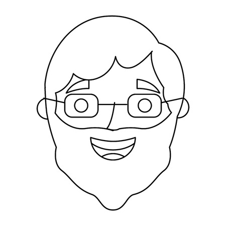 the face old man profile avatar grandfather vector illustration