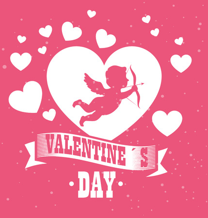 happy valentines day card with cupid angel and hearts vector illustration graphic design Stock Illustratie