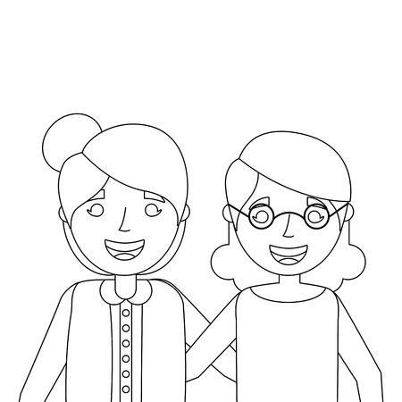 two older women friends together embraced vector illustration Illustration