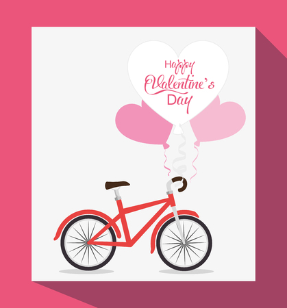happy valentines day card with hearts and bycicle vector illustration graphic design Illustration
