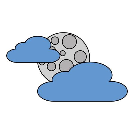 雲月夜空自然シーン ベクトル図