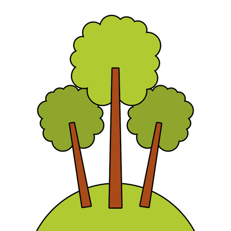 green three tree foliage forest park natural vector illustration Ilustração