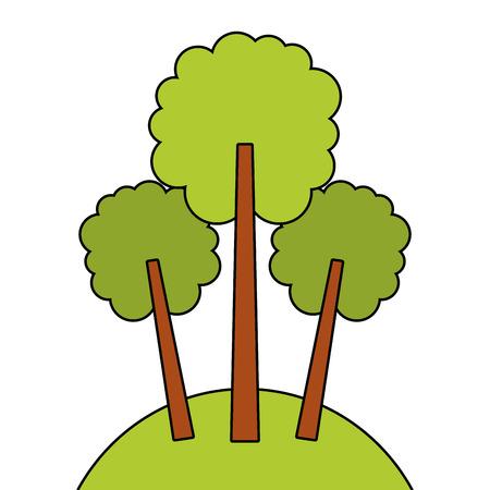 green three tree foliage forest park natural vector illustration Ilustração