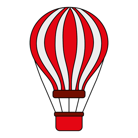 red and white airballoon with basket recreation adventure vector illustration