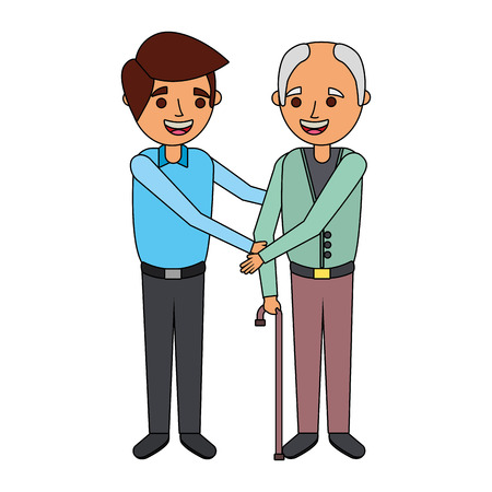 young man and old man together family vector illustration Çizim
