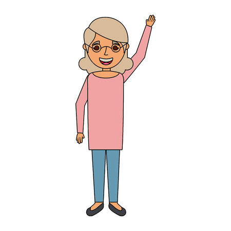happy old woman grandma standing cartoon vector illustration