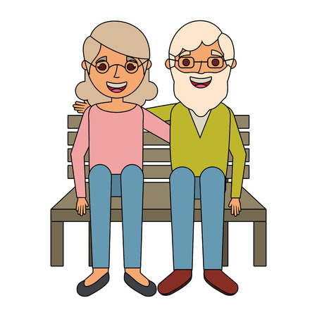 happy couple grandparents characters sitting in bench vector illustration Illustration