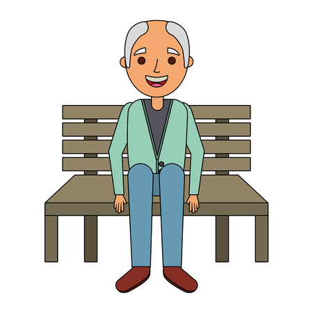 ベクトル図を待っているベンチに座っている老人おじいちゃん