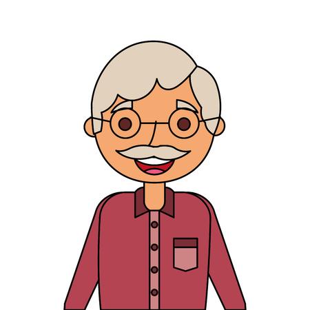늙은이 연금 수령 인 할아버지 문자 벡터 일러스트 레이션의 초상화