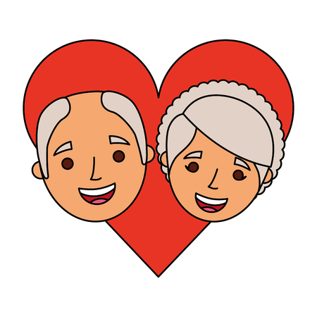 happy grandparents portrait old lovely couple in love characters vector illustration