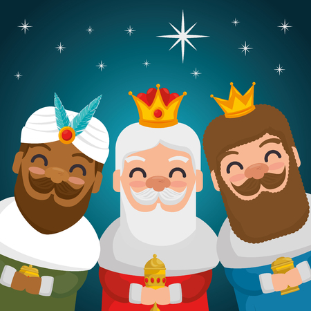 the three magic kings of orient wise men vector illustration graphic design