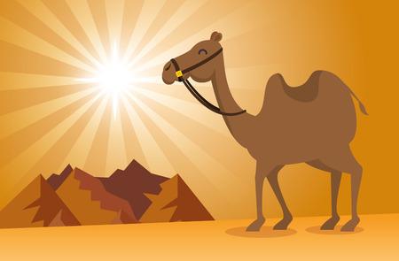 自然砂砂漠の風景ベクトル イラスト グラフィック デザイン  イラスト・ベクター素材