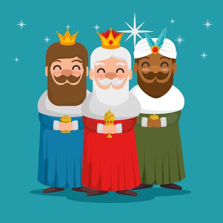 the three magic kings of orient wise men vector illustration graphic design Vektoros illusztráció