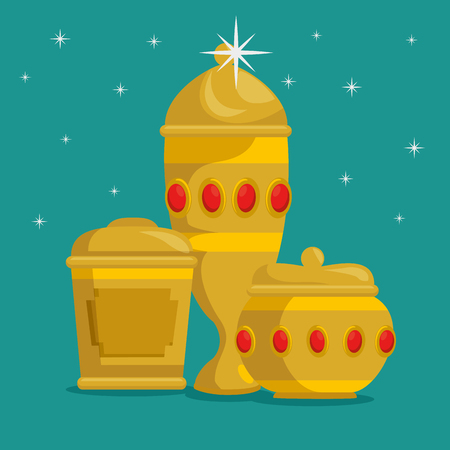 baby jesus gifts from the three magic kings vector illustration graphic design  Ilustração
