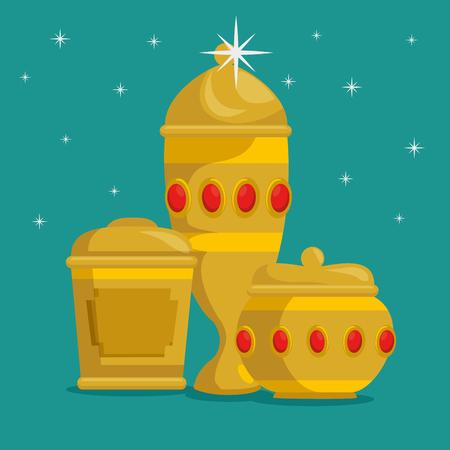 cadeaux de bébé jésus des trois rois magiques vector illustration design graphique