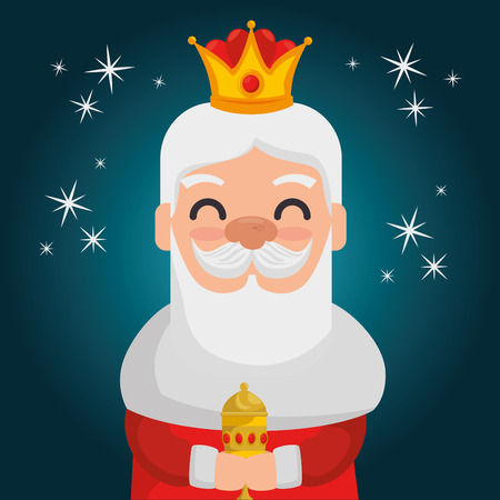 three magic kings melchor cartoon vector illustration graphic design Иллюстрация