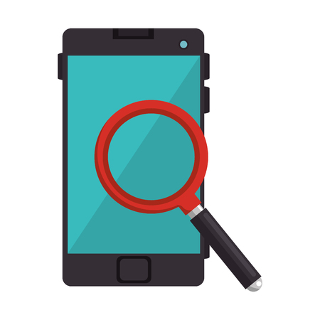 smartphone device with magnifying glass vector illustration