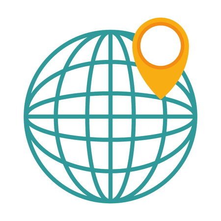 sphere planet with pointer vector illustration design