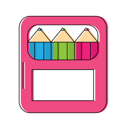 colored pencils school supplies icon image vector illustration design Illustration